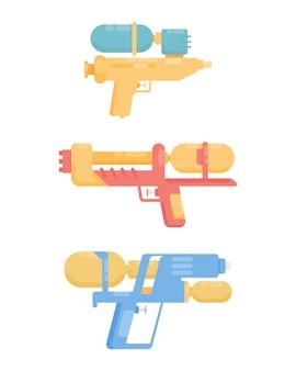 Collezione di pistole ad acqua. giocattoli colorati piatti. illustrazione isolato su sfondo bianco.