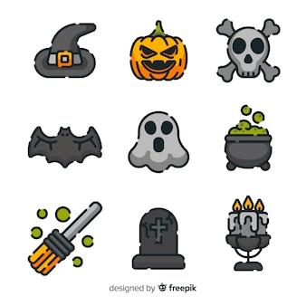 Collezione di pittogrammi di halloween piatta