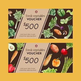 Collezione di pittura ad acquerello vegetale di buono regalo. illustrazione sana organica dell'alimento fresco