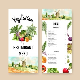 Collezione di pittura ad acquerello vegetale. illustrazione sana del menu organico dell'alimento fresco