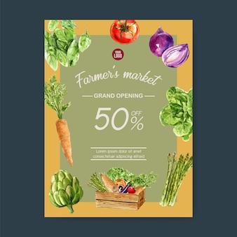Collezione di pittura ad acquerello vegetale. illustrazione sana dell'aletta di filatoio organica del manifesto dell'alimento fresco