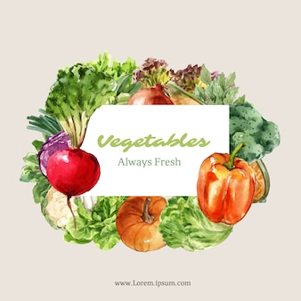 Collezione di pittura ad acquerello vegetale. illustrazione sana dell'annuncio della decorazione organica dell'alimento fresco