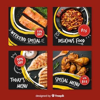 Collezione di post di instagram culinari menu speciali