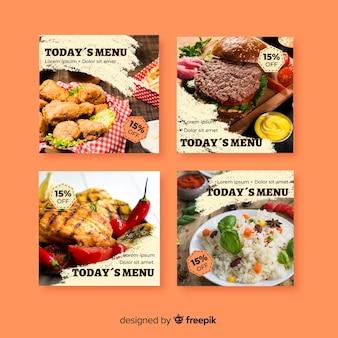 Collezione di post di instagram culinaria con foto