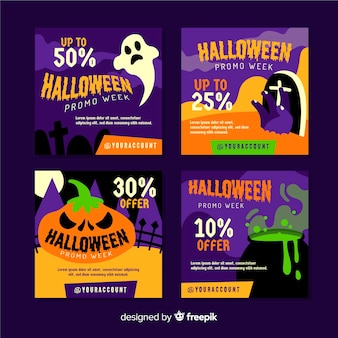 Collezione di post di instagram di halloween con creature