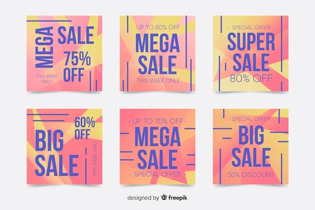Collezione di post di instagram di vendita di colori caldi