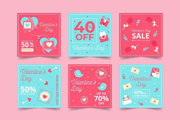 Collezione di post di instagram di vendita di san valentino