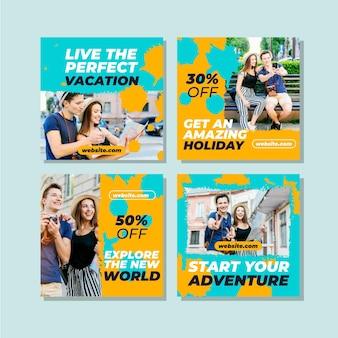 Collezione di post di instagram di vendita di viaggi
