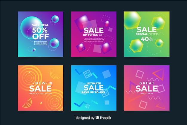 Collezione di post di instagram di vendita gradiente