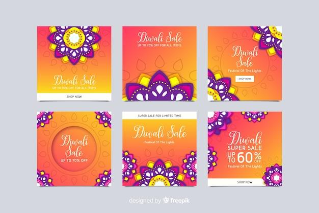 Collezione di post di instagram floreale diwali