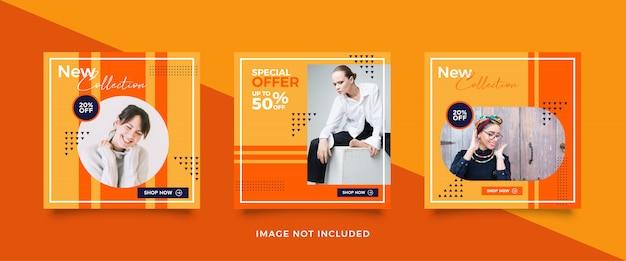 Collezione di post di social media di vendita di moda