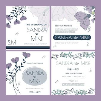 Collezione di post floreale instagram matrimonio