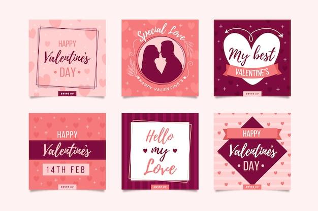 Collezione di post instagram di san valentino