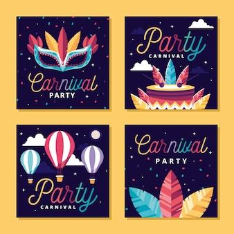 Collezione di post instagram festa di carnevale