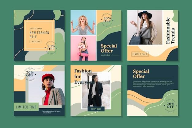 Collezione di post instagram organici di vendita di modelli moderni