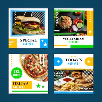 Collezione di post menu speciali per ristoranti