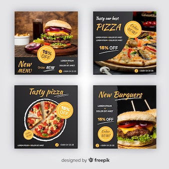 Collezione di post su instagram di pizza e hamburger