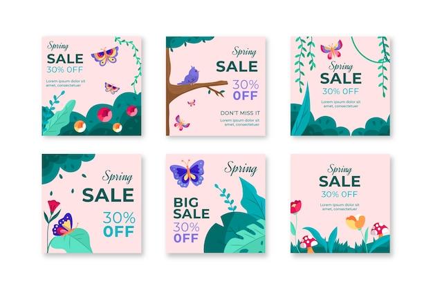Collezione di post su instagram per la vendita primaverile