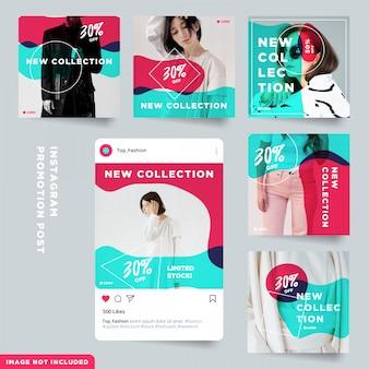 Collezione di post sui social media promozionali alla moda