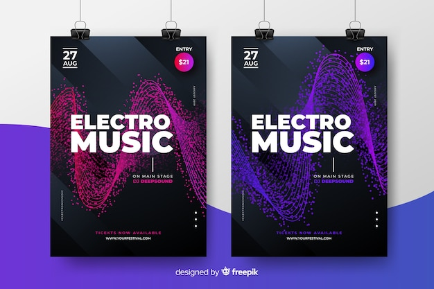 Collezione di poster del festival di musica elettronica
