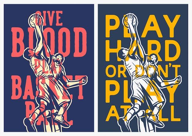 Collezione di poster di citazione di basket
