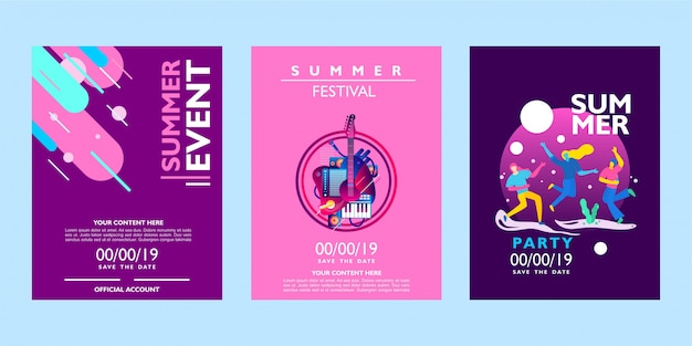 Collezione di poster di estate per eventi, festival e feste su sfondo colorato