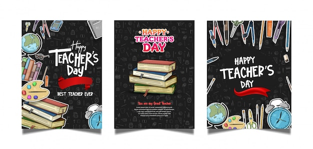 Collezione di poster di happy teachers day
