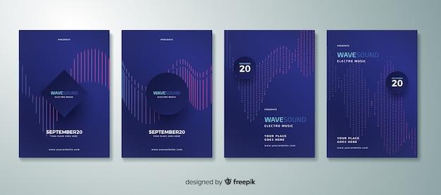 Collezione di poster di musica elettronica wave sound