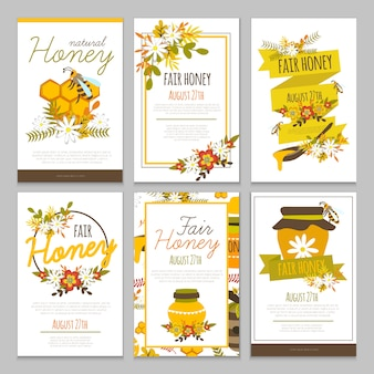 Collezione di poster disegnati a mano di miele