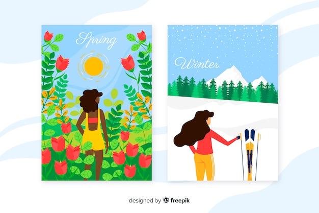 Collezione di poster stagionali disegnati a mano