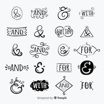 Collezione di preposizioni di slogan disegnati a mano: e, con, per, a