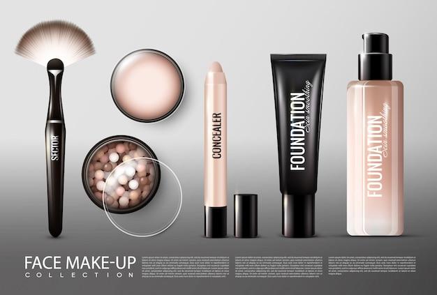 Collezione di prodotti cosmetici per fondotinta