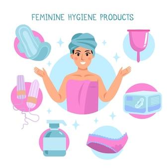 Collezione di prodotti per l'igiene femminile