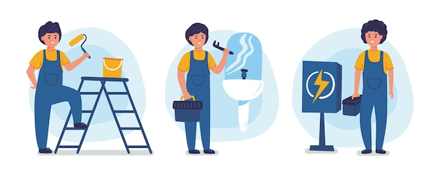 Collezione di professioni domestiche e di ristrutturazione
