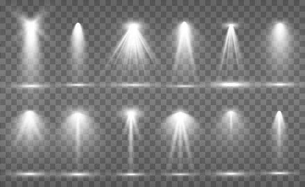 Collezione di proiettori per illuminazione scenica, effetti di luce trasparente. luminosa bella illuminazione con faretti.