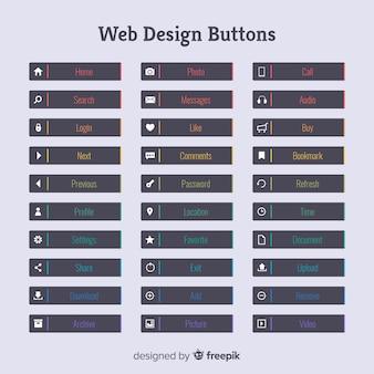Collezione di pulsanti web design colorato con design piatto
