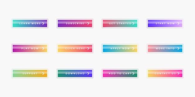 Collezione di pulsanti web moderno colorato