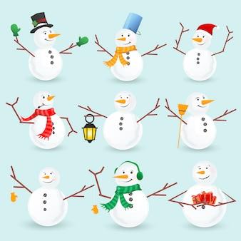 Collezione di pupazzi di neve di natale inverno