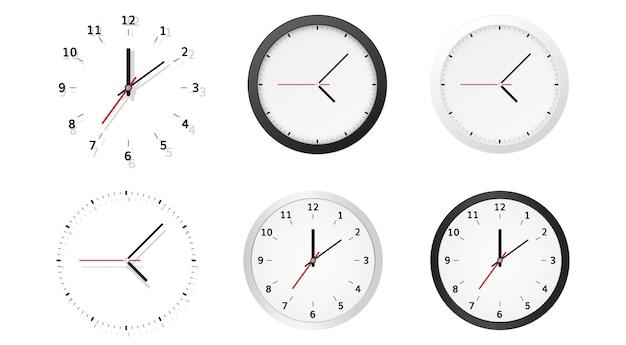 Collezione di quadranti di orologio con quadrante analogico tondo