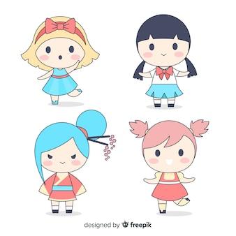 Collezione di ragazze kawaii disegnate a mano