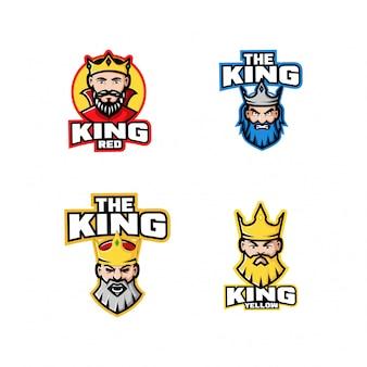 Collezione di re testa personaggio logo icona design cartoon