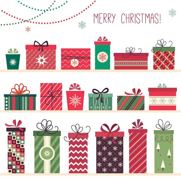 Collezione di regali di natale con diciotto regali di natale decorativi