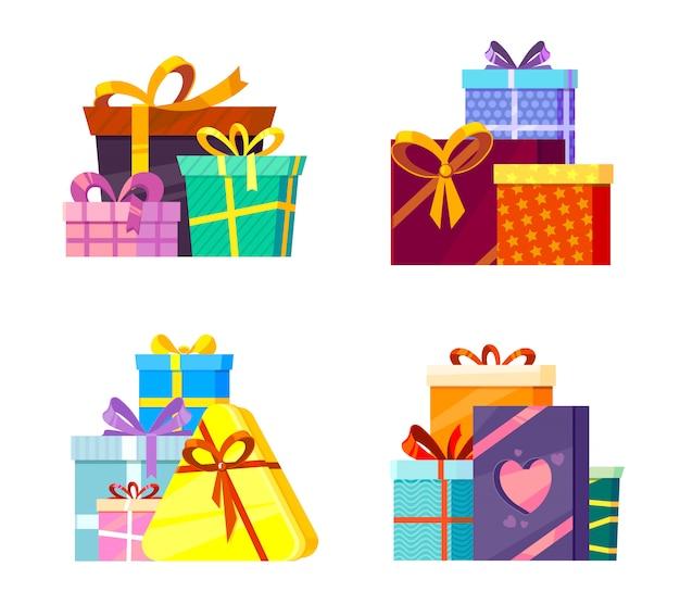 Collezione di regali di natale. pacchetti colorati saluti con nastri e fiocco cartoon vettoriale