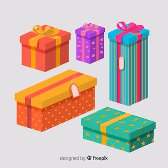 Collezione di regali di natale piatta
