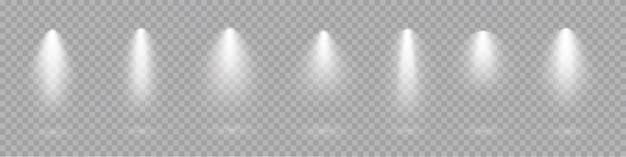 Collezione di riflettori per faretti vettore luce effetti trasparenti.