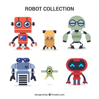 Collezione di robot colorati disegnati a mano