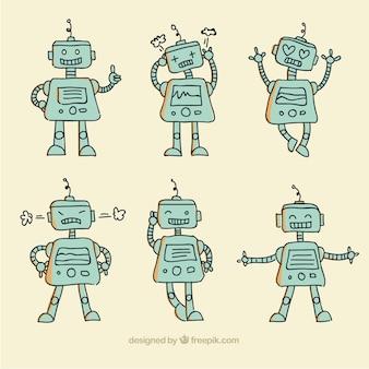 Collezione di robot disegnati a mano