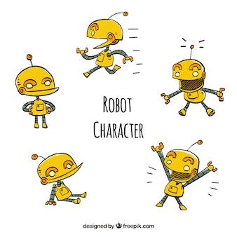 Collezione di robot disegnato a mano con diverse pose