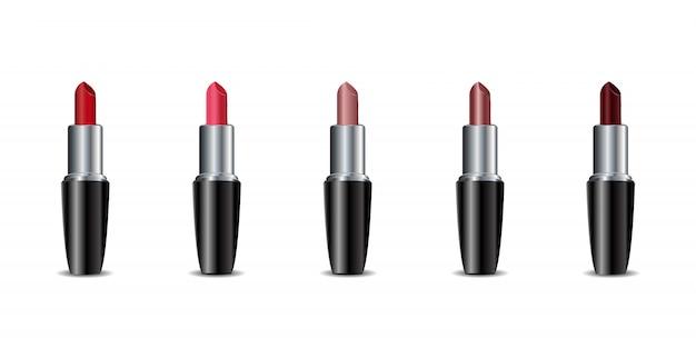 Collezione di rossetti di colore realistico su sfondo bianco. concetto di cosmetici, bellezza e moda.
