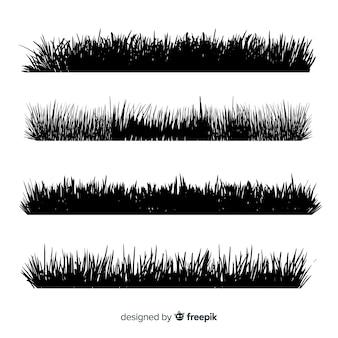 Collezione di sagome di confine di erba nera